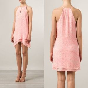 Parker Pink Marble Silk Ruffle Halter Dress 027